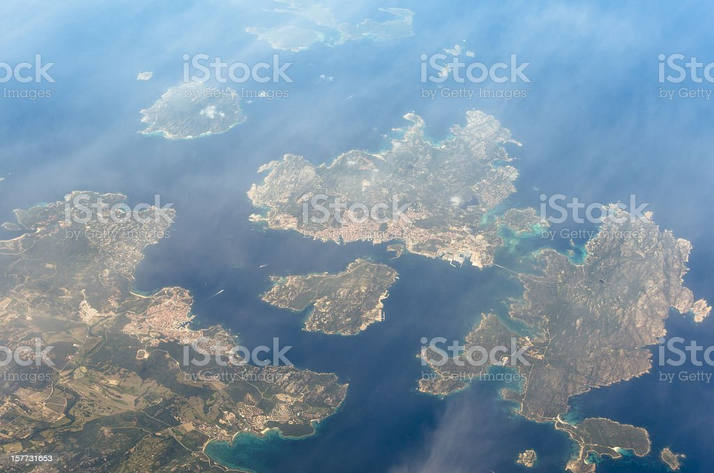 group of island from the airplane porthole royalty-free stock photo