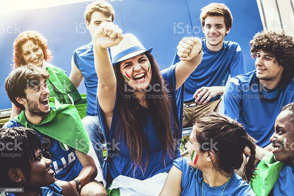 Group of Italian Footbal Team Supporters royalty-free stock photo