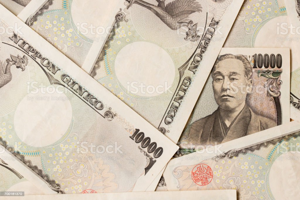 Group of Japanese bank note 10000 yen background stock photo