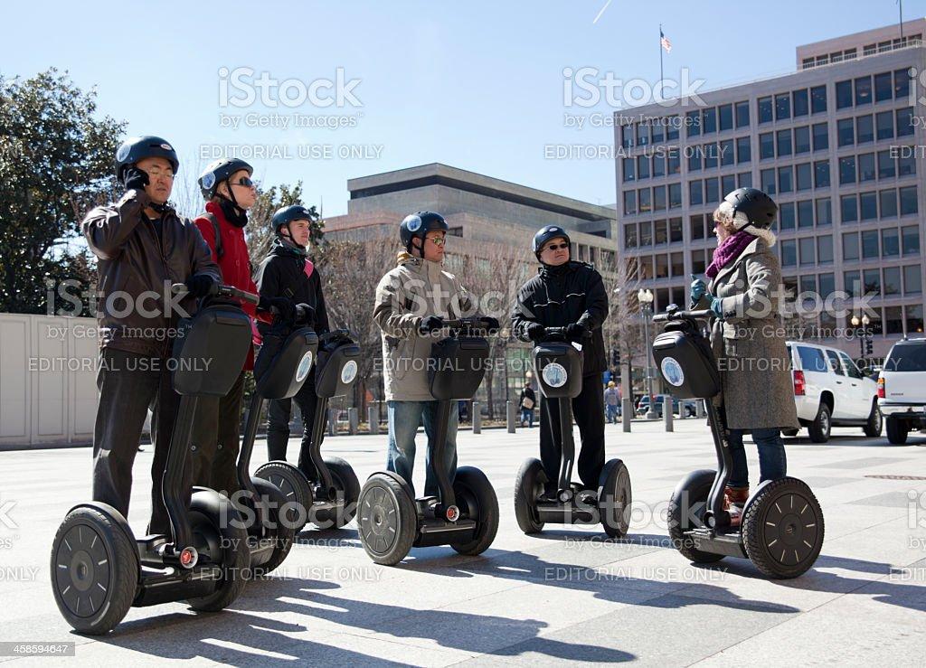 Group of Japanese tourists on segways in Washington, DC stock photo