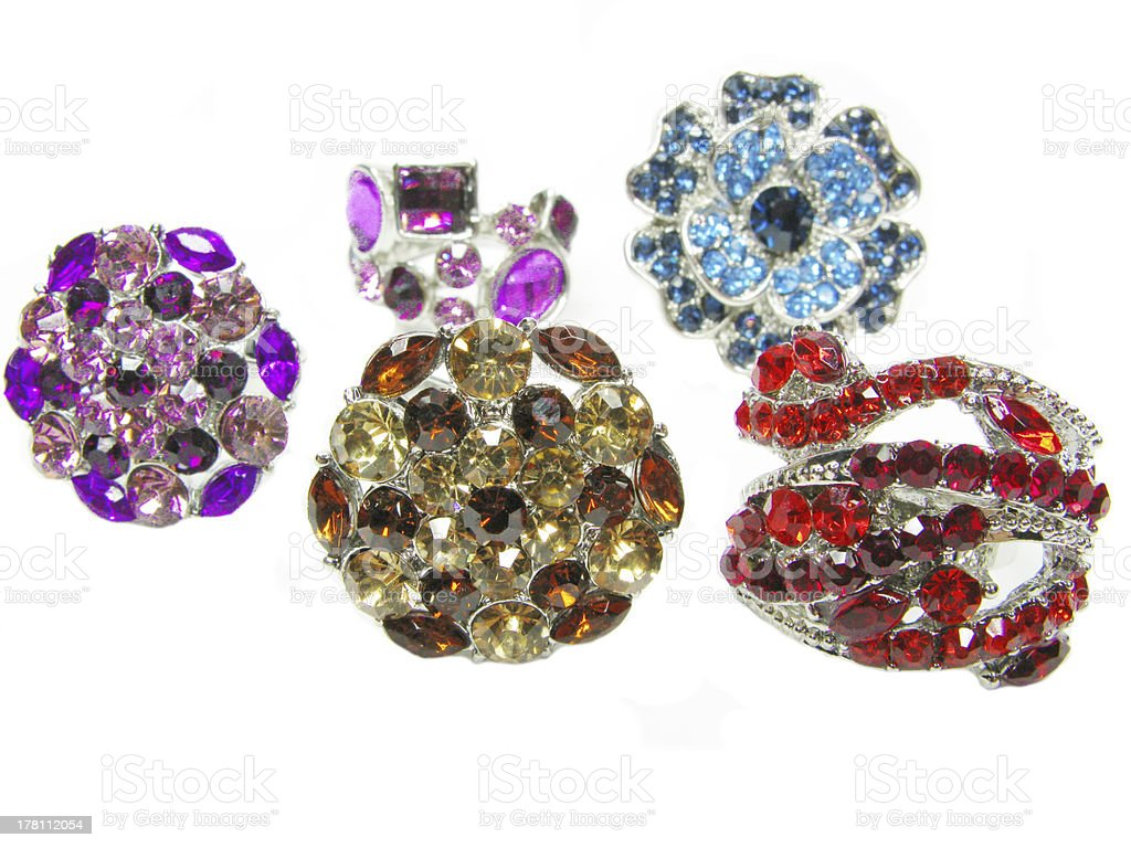 group of jewelry ring with bright crystals royalty-free stock photo