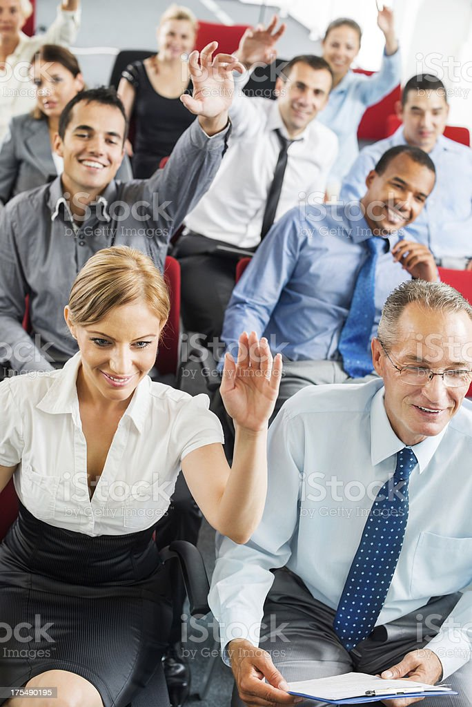 Group of journalist at the press conference royalty-free stock photo