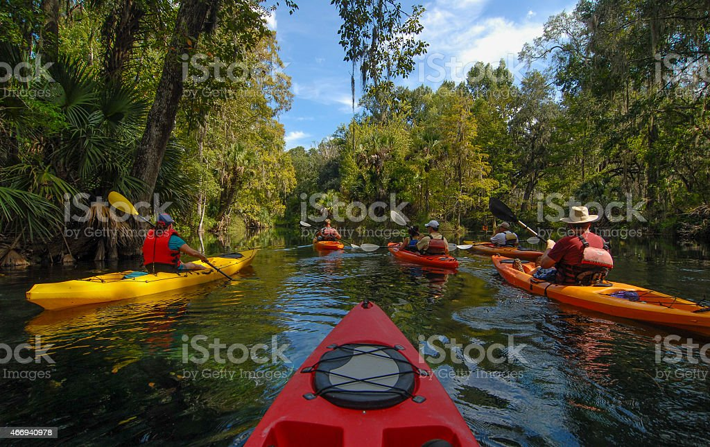 Group of Kayakers on the Silver River stock photo