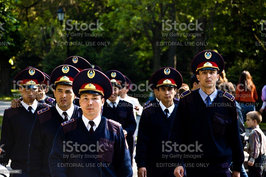 Group of Kazakh Policmen stock photo