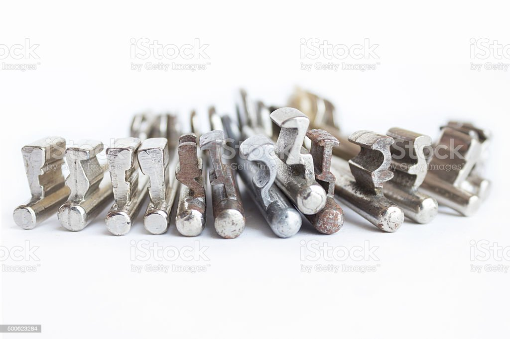 group of keys macro on white background stock photo