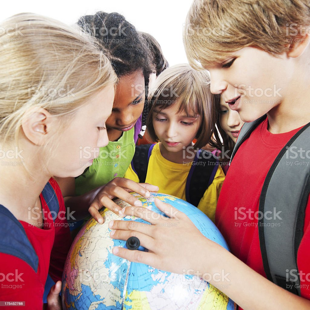 Group of kids and the globe. royalty-free stock photo