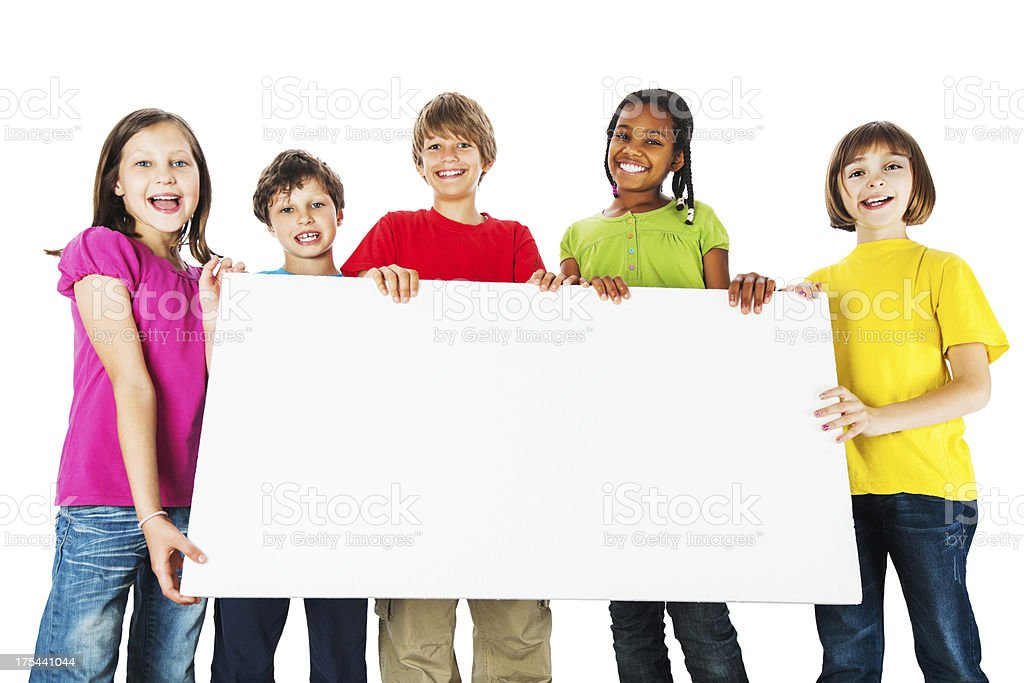 Group of kids holding a big white board. stock photo