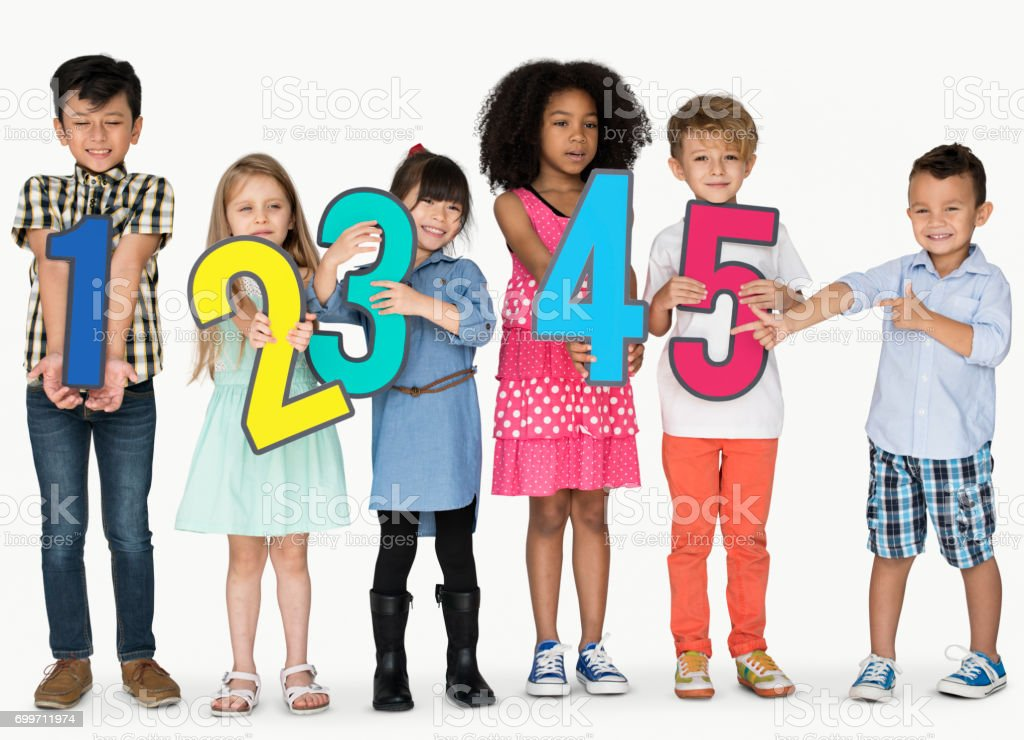 Group of Kids Holding Numberic stock photo