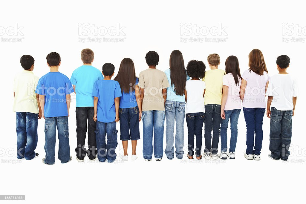 group of kids Ignoring you - turning their back royalty-free stock photo