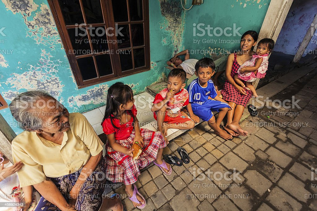 Group of Kids in a Small Village, Java, Indonesia stock photo