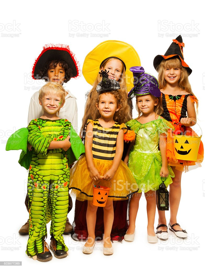 Group of kids in costumes isolated on white stock photo