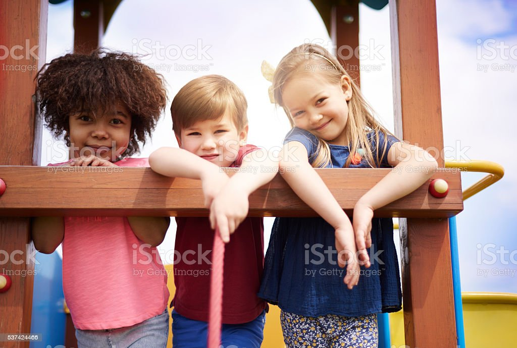 Group of kids on the playground stock photo
