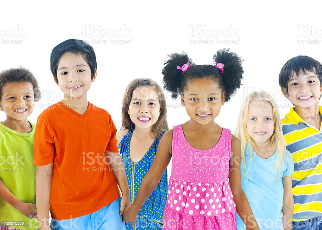 Group of kids smiling royalty-free stock photo