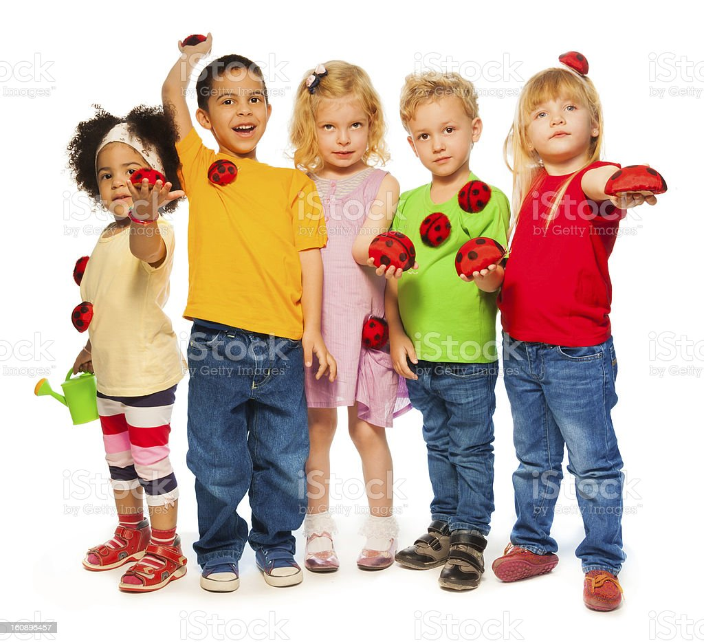 Group of kids spring royalty-free stock photo