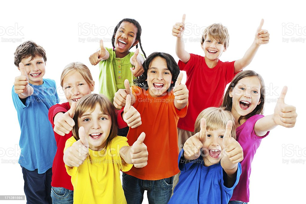 Group of kids with thumbs up. stock photo