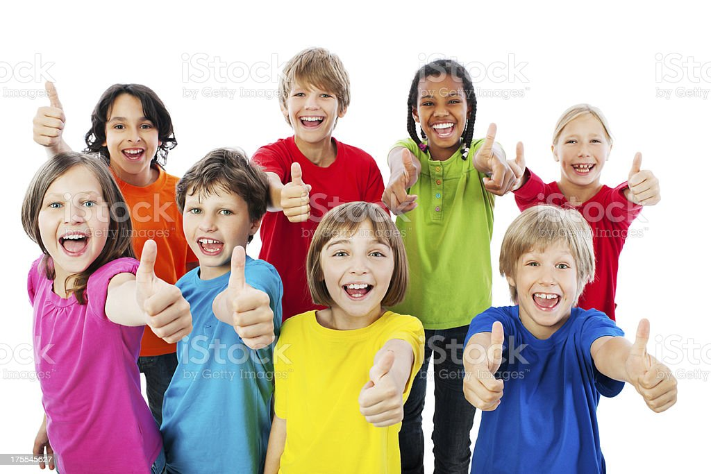 Group of kids with thumbs up. royalty-free stock photo