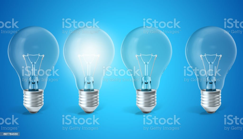 Group of lamp bulbs on blue background with single glowing bulb. Concept innovation ideas, 3d rendering stock photo
