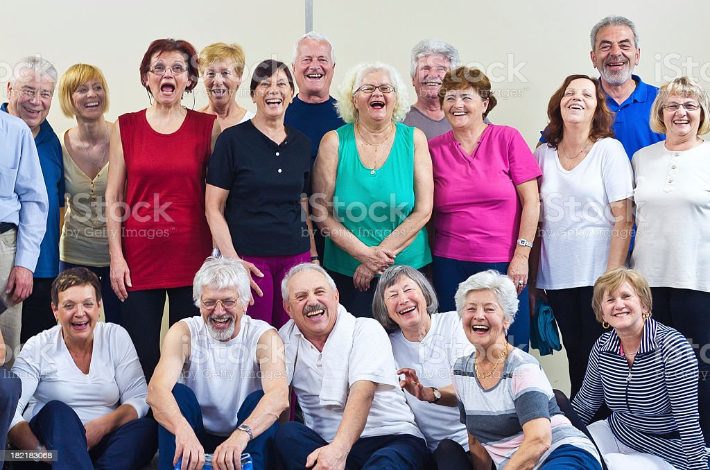 Group of laughing seniors royalty-free stock photo