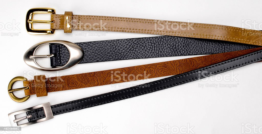 group of leather belts stock photo
