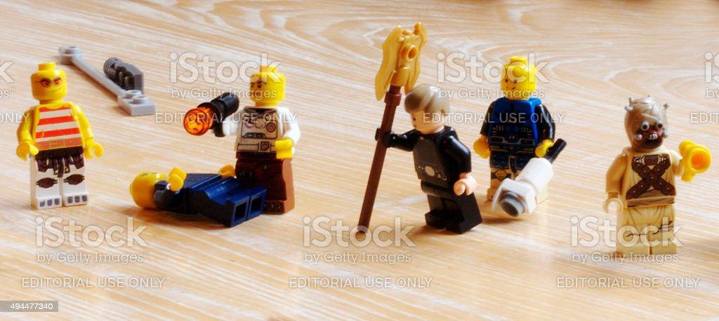Group of lego mini figure stock photo