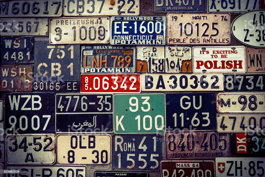 Group of license plates stock photo