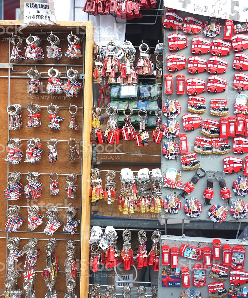 Group of London themed tourist gifts stock photo