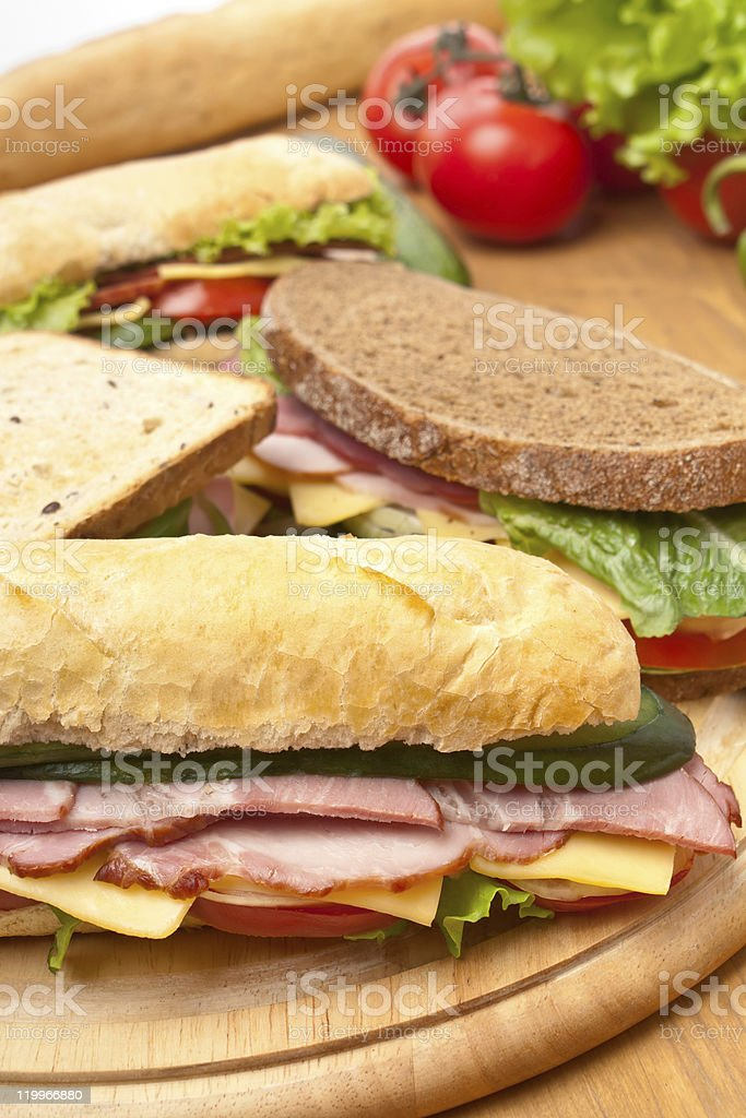 group of long baguette and toasted sandwiches royalty-free stock photo