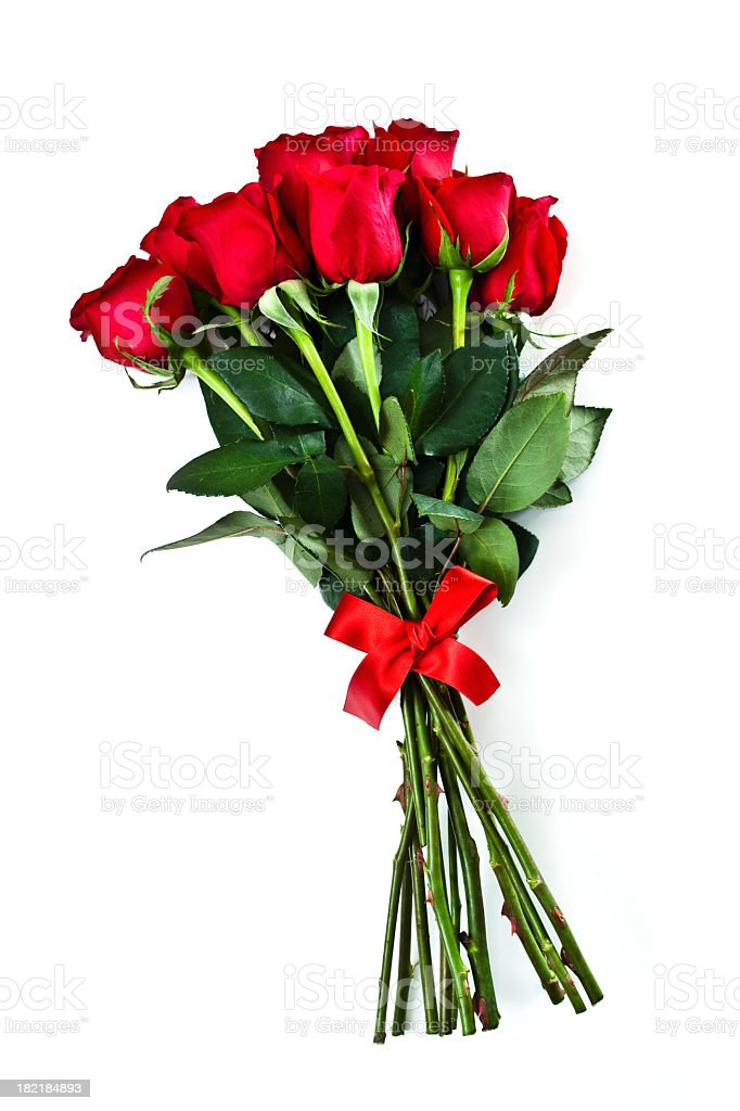 Group of long stemmed roses with red bow for Valentines Day stock photo