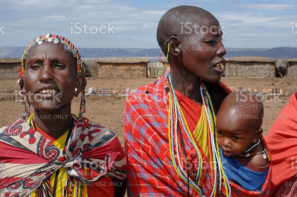 Group of Maasai Women Singing. royalty-free stock photo