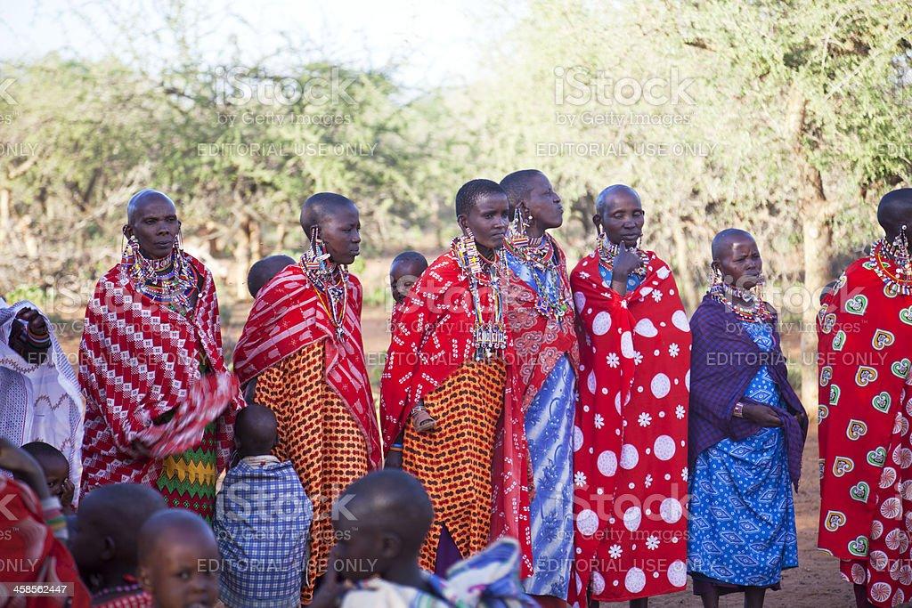 Group of maasai womwnand children stock photo