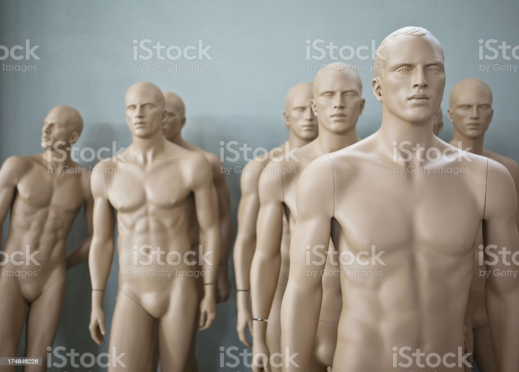Group of male mannequins royalty-free stock photo
