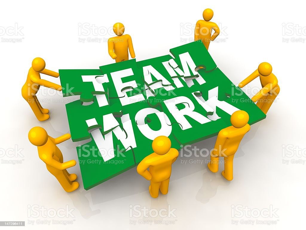 Group of man assembling Team Work puzzle royalty-free stock photo