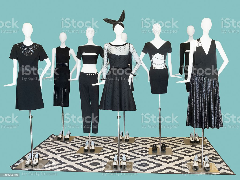 Group of mannequin wear fashion clothing stock photo