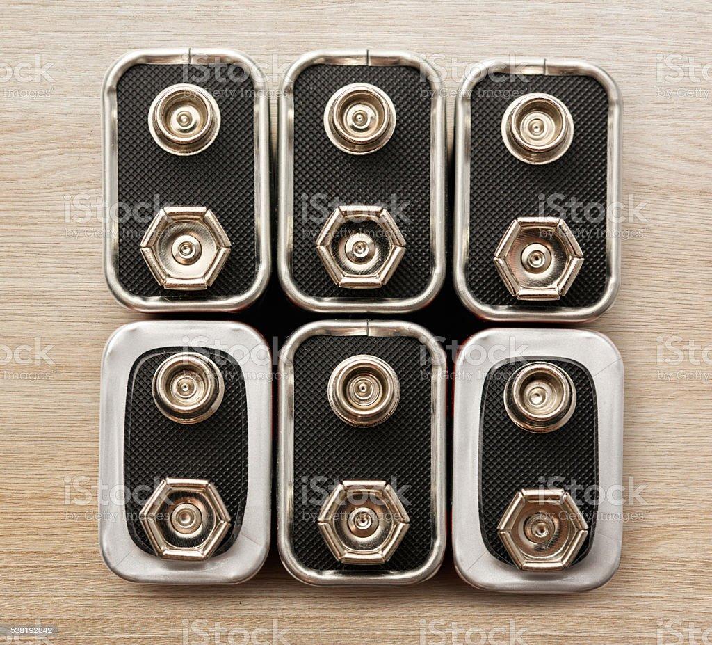 Group of many batterys stock photo