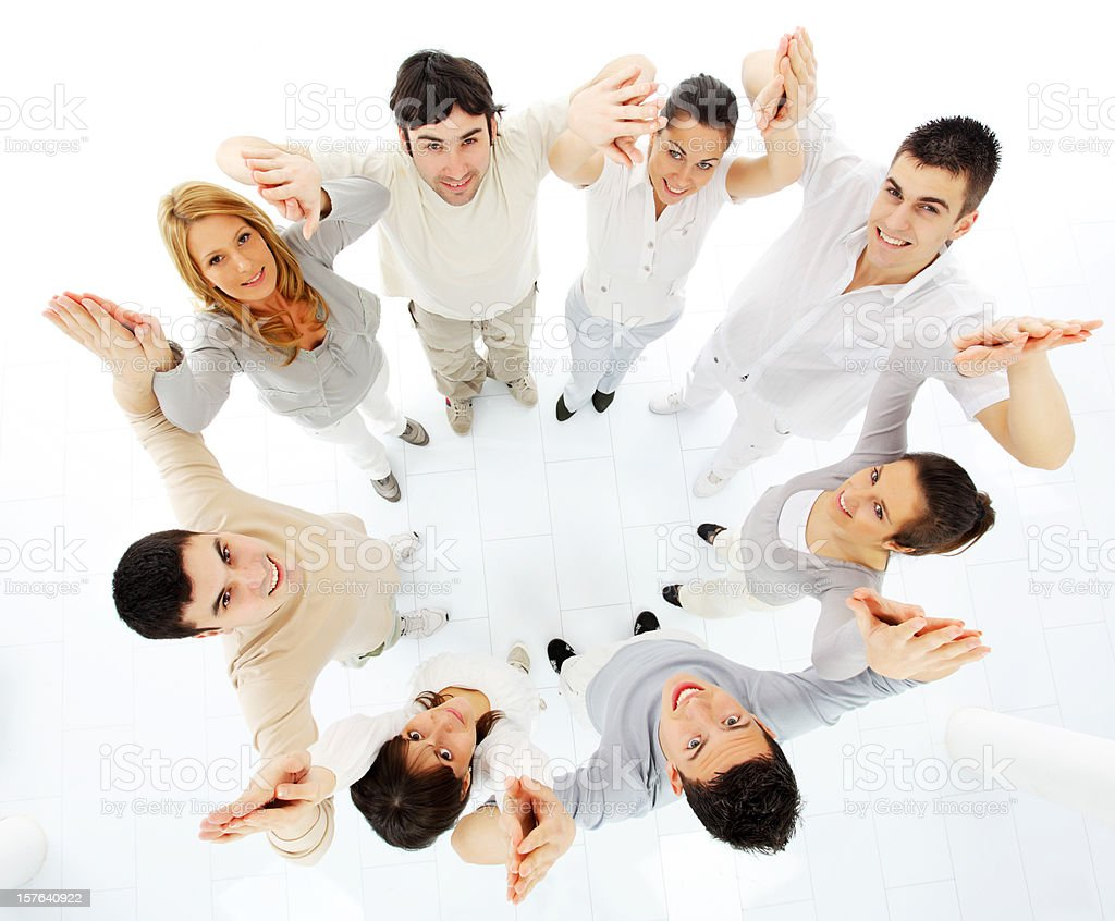 Group of many young people standing in circle. royalty-free stock photo