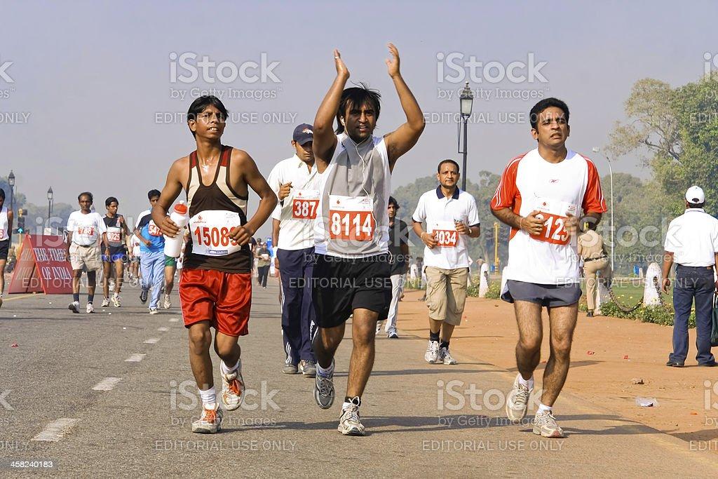 Group of marathon runners royalty-free stock photo