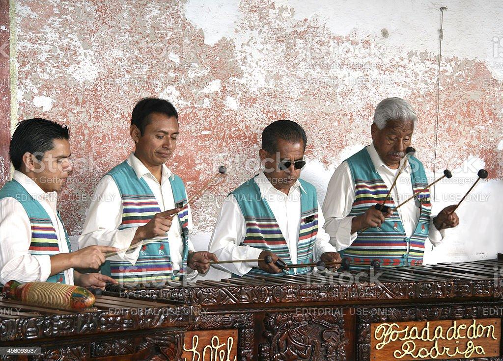Group of marimba players performing in Antigua, Guatemala stock photo