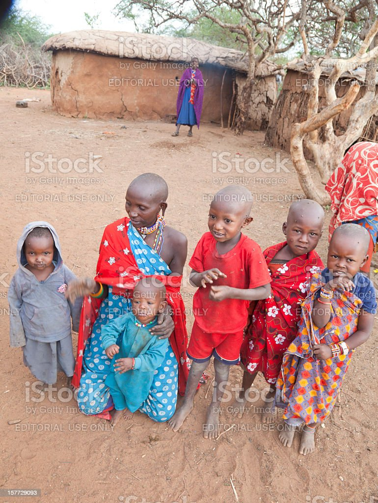 Group of masai children waiting for tourists stock photo