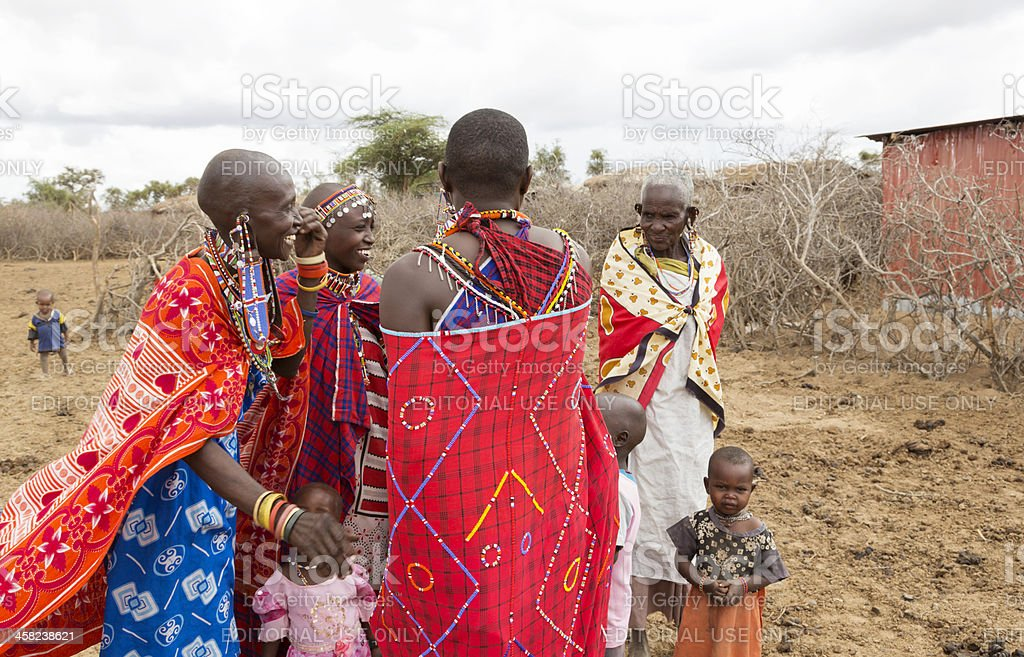 Group of Masai laughing together. stock photo