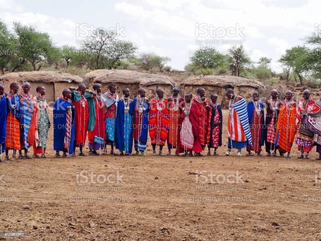A group of Masai women standing in a line near Amboseli, Kenya stock photo