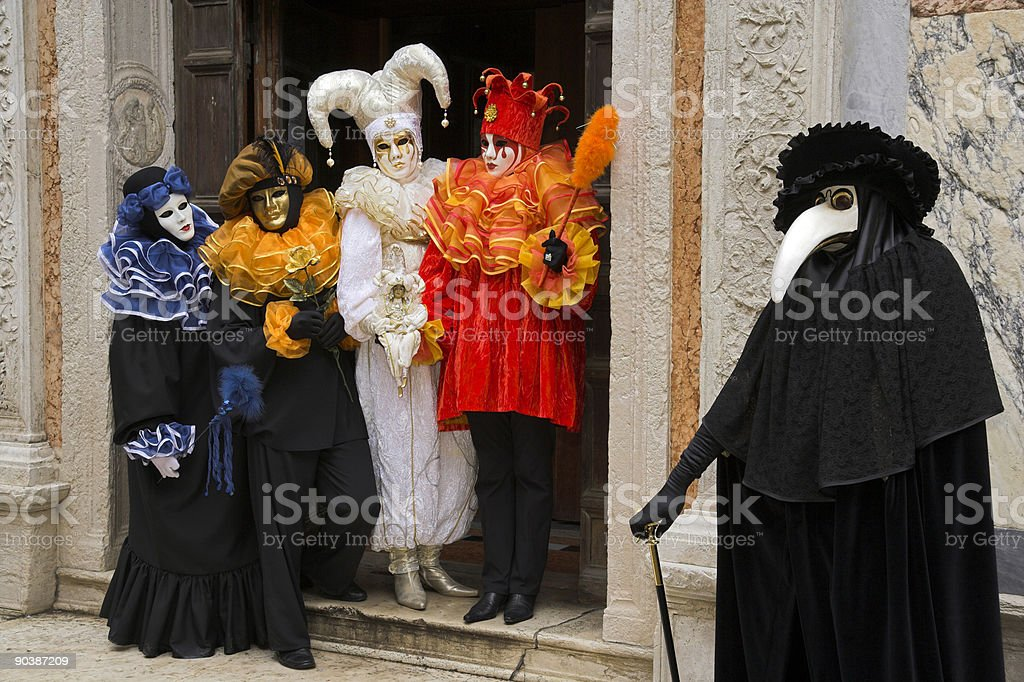 Group of masks at carnival in Venice (XXL) royalty-free stock photo