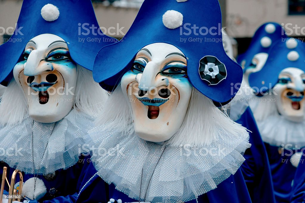 Group of masks at Fasnacht Festival in Basel (XXL) royalty-free stock photo