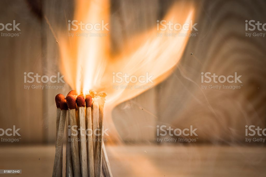 group of match is ignite stock photo