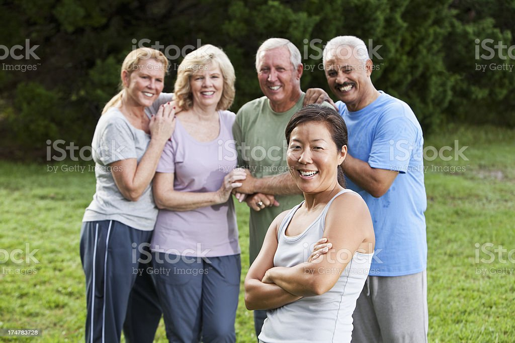 Group of mature adult friends stock photo
