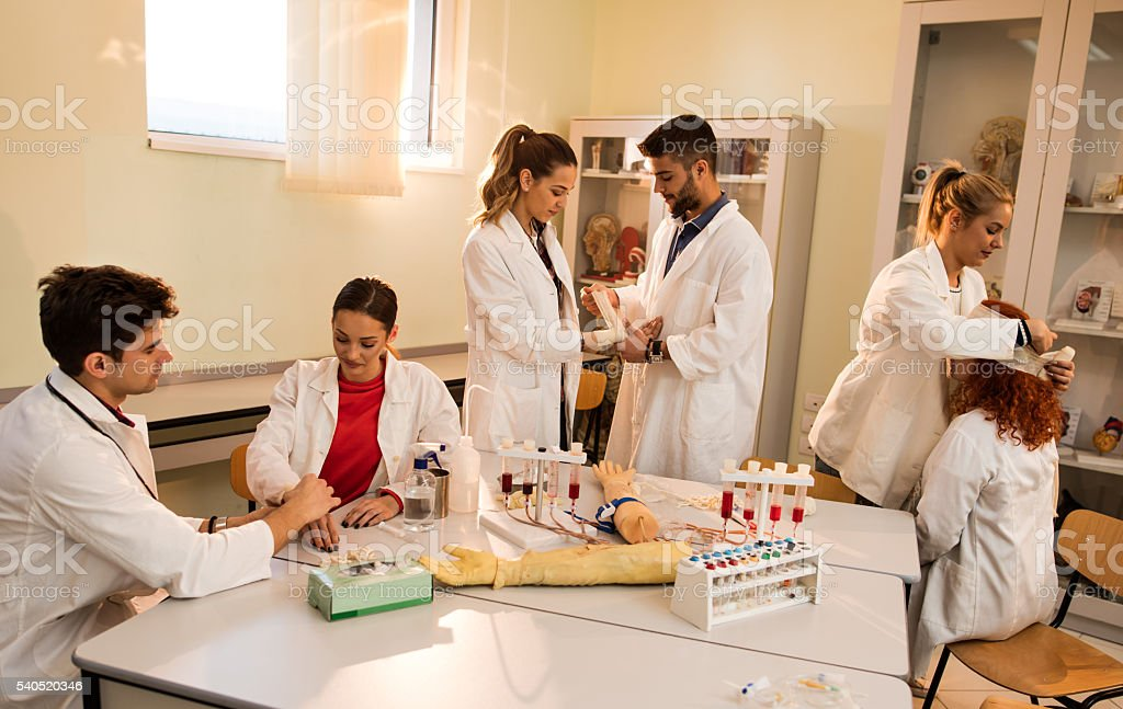 Group of medical students during first aid training course. stock photo