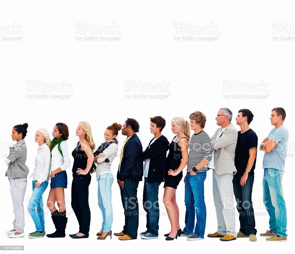Group of men and women in a row stock photo