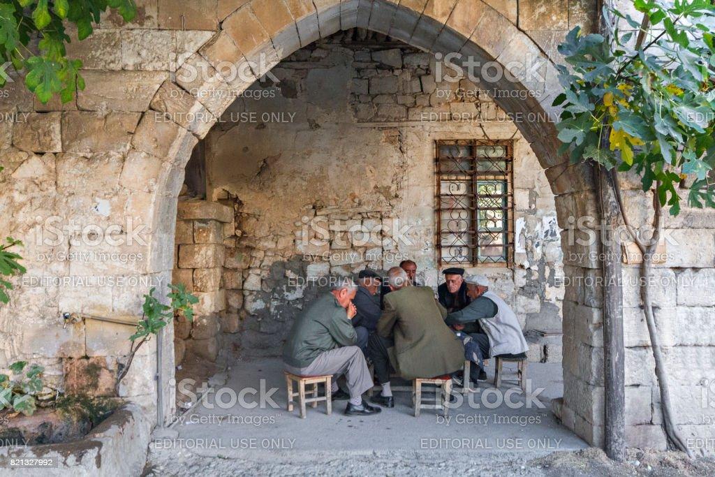 Group of men, in Adiyaman, Turkey. stock photo