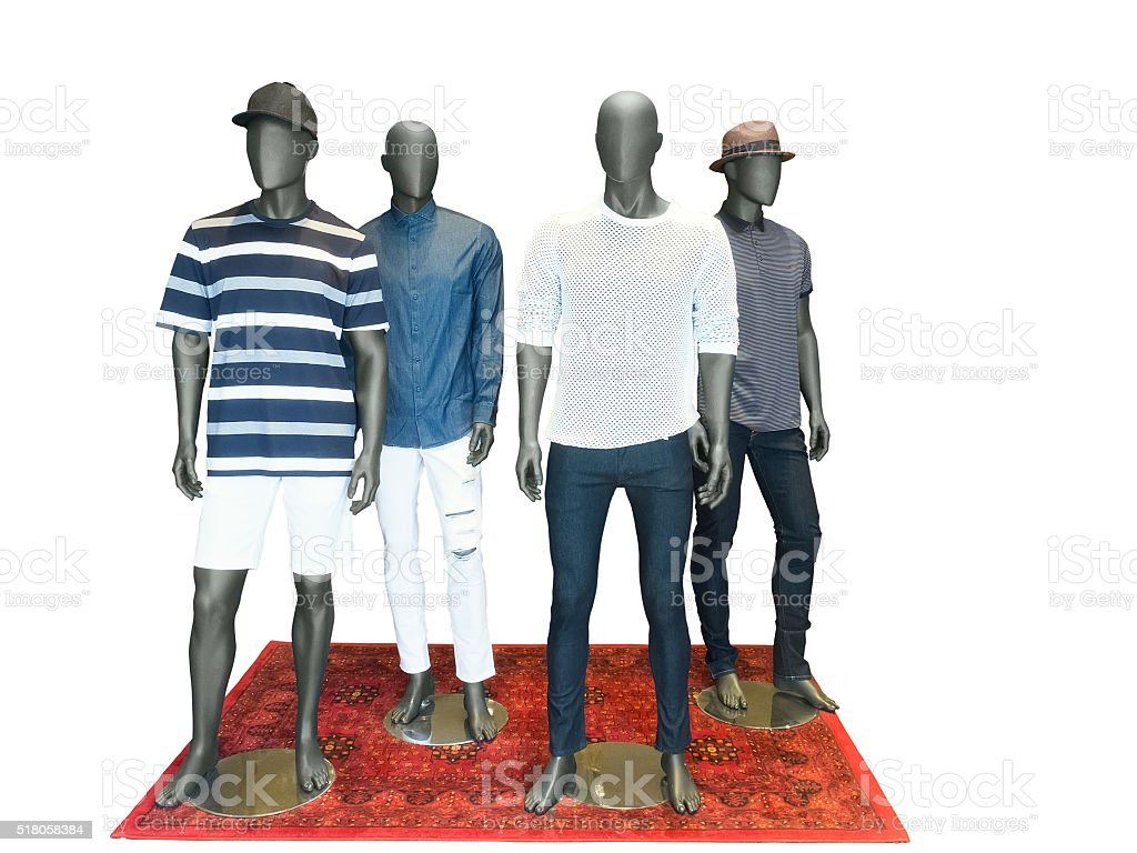 Group of men mannequins stock photo