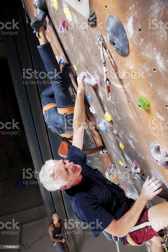 Group of Men Various Ages at Climbing Gym stock photo