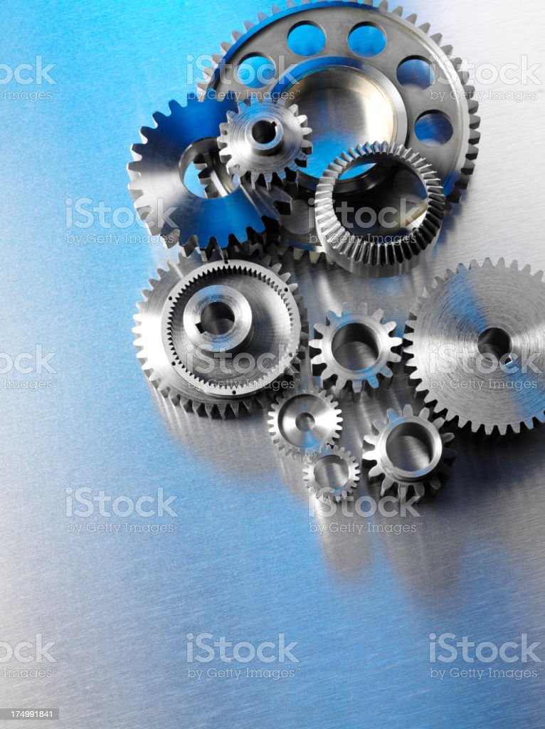 Group of Metal Wheels and Cogs royalty-free stock photo